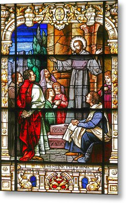 Stained Glass Window Saint Augustine Preaching Metal Print