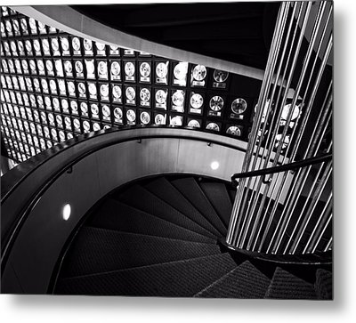 Staircase In Black And White Metal Print by Dan Sproul