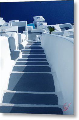 Stairs Down To Ocean Santorini Metal Print