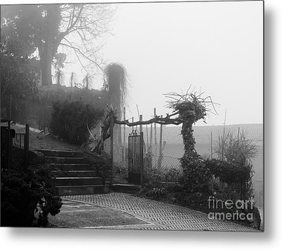 Stairs In The Fog Metal Print