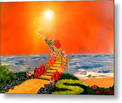 Metal Print featuring the painting Stairway To Heaven by Michael Rucker