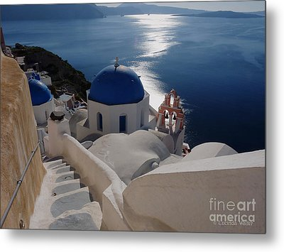Stairway To The Blue Domed Church Metal Print by Lucinda Walter