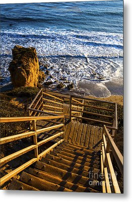 Metal Print featuring the photograph Steps To Blue Ocean And Rocky Beach by Jerry Cowart
