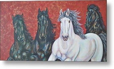 Stallions Of Venice Metal Print by Beth Clark-McDonal