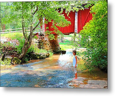 Standing By The River At Campbell's Bridge Metal Print by Bellesouth Studio