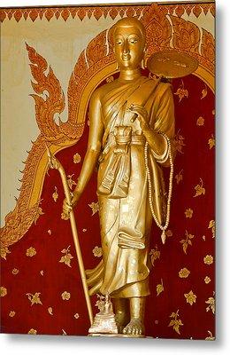 Standing Large Gold Budda Metal Print by Linda Phelps