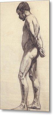 Standing Male Nude Metal Print by Felix Edouard Vallotton
