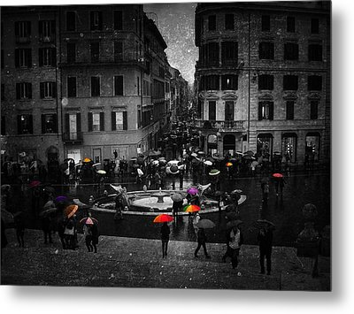Standing Out In The Rain Metal Print
