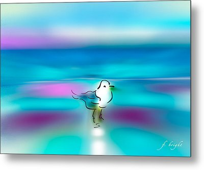 Metal Print featuring the mixed media Standing Seagull by Frank Bright