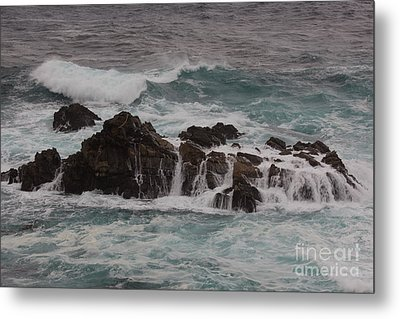 Standing Up To The Waves Metal Print by Suzanne Luft