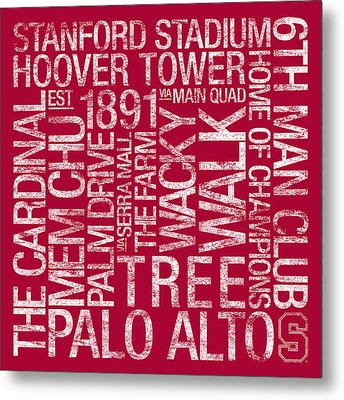 Stanford College Colors Subway Art Metal Print by Replay Photos