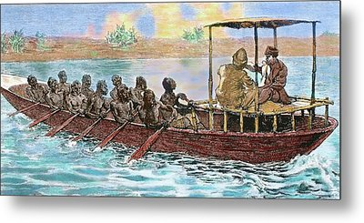 Stanley And Livingstone In A Canoe Metal Print by Prisma Archivo
