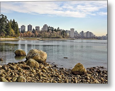 Stanley Park Beach Metal Print by Allen Carroll