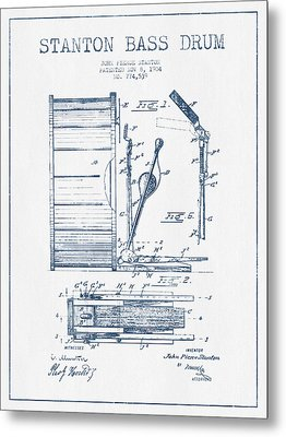 Stanton Bass Drum Patent Drawing From 1904 - Blue Ink Metal Print