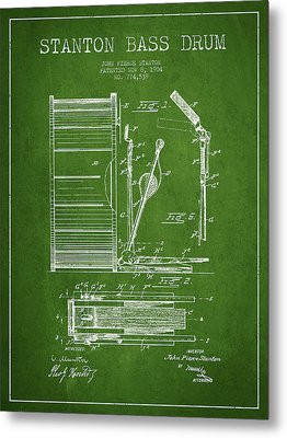 Stanton Bass Drum Patent Drawing From 1904 - Green Metal Print by Aged Pixel