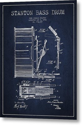 Stanton Bass Drum Patent Drawing From 1904 - Navy Blue Metal Print by Aged Pixel