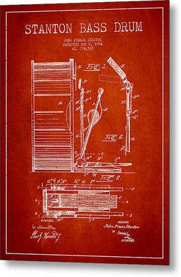 Stanton Bass Drum Patent Drawing From 1904 - Red Metal Print by Aged Pixel