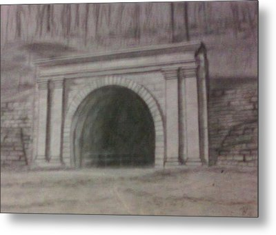 Metal Print featuring the drawing Staple Bend Tunnel West Facade by Thomasina Durkay