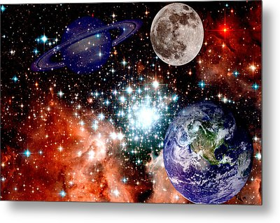 Star Field With Planets Metal Print