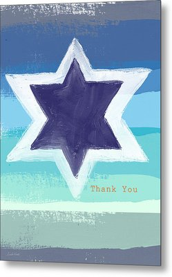Star Of David In Blue - Thank You Card Metal Print by Linda Woods