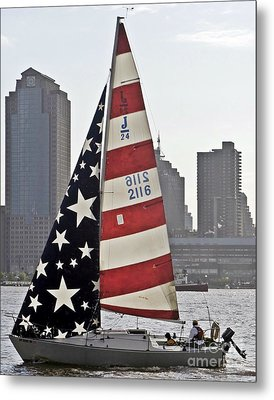 Metal Print featuring the photograph Star Spangled Sail  by Lilliana Mendez