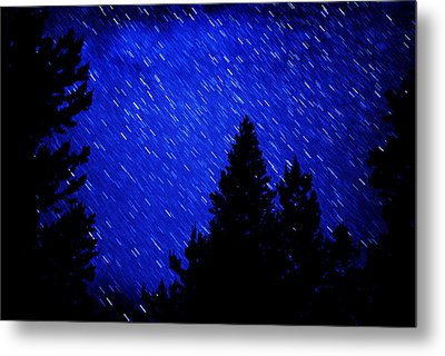 Star Trails In Night Sky Metal Print by Lane Erickson