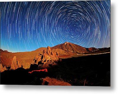 Star Trails Over Mount Teide Metal Print