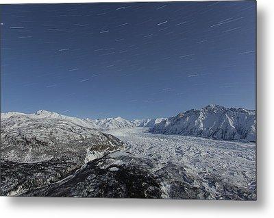 Star Trails Over The Matanuska Glacier Metal Print by Tim Grams