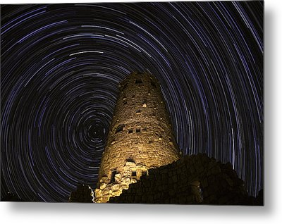 Star Trails Over The Watchtower Metal Print by Jason Hatfield