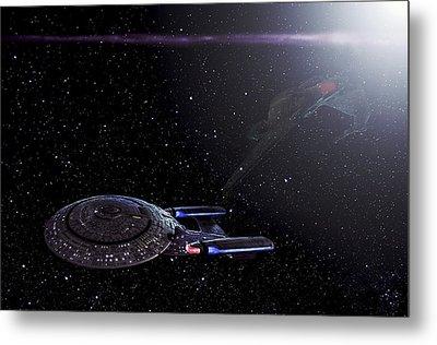 Star Trek - Ambush - Klingon Bird Of Prey - Uss Enterprise D Metal Print by Jason Politte