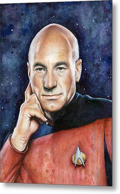 Captain Picard Portrait Metal Print by Olga Shvartsur