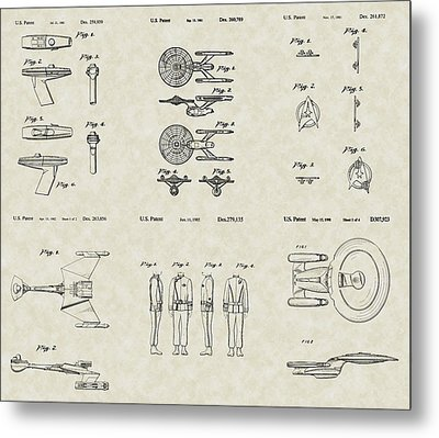 Star Trek Patent Collection Metal Print by PatentsAsArt