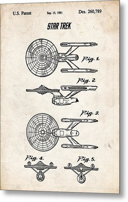 Star Trek Uss Enterprise Patent Art Metal Print by Stephen Chambers
