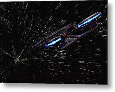 Star Trek - Wormhole Effect - Uss Enterprise D Metal Print by Jason Politte