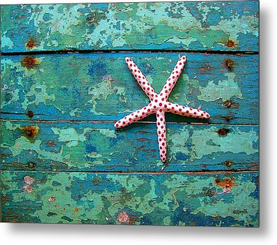Seashore Peeling Paint - Starfish And Turquoise Metal Print by Rebecca Korpita