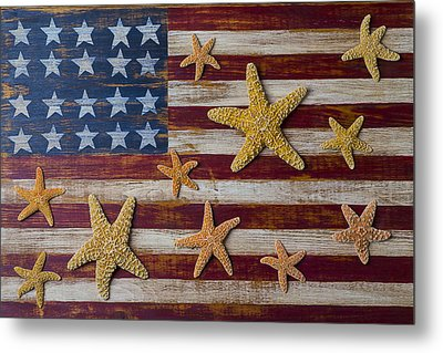 Starfish On American Flag Metal Print by Garry Gay