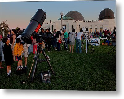 Metal Print featuring the photograph Stargazers At Dusk - Griffith Observatory Los Angeles California by Ram Vasudev