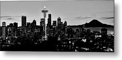 Stark Seattle Skyline Metal Print by Benjamin Yeager