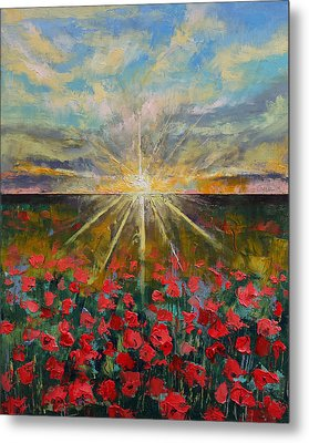 Starlight Poppies Metal Print by Michael Creese