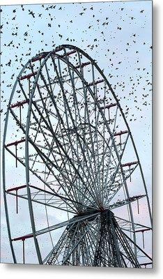 Starling Flock On Blackpool Ferris Wheel Metal Print