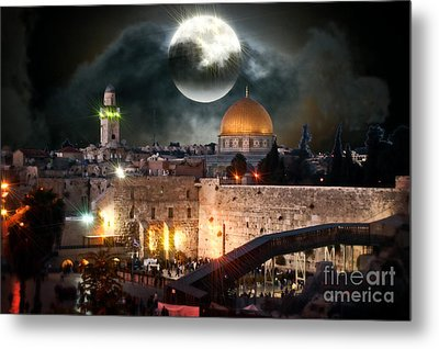 Full Moon At The Dome Of The Rock Metal Print