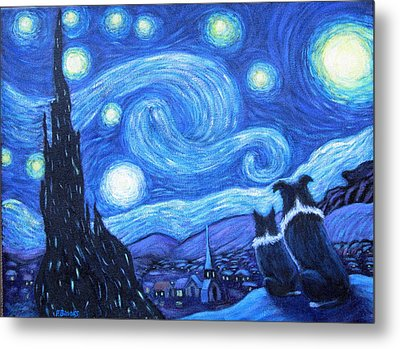 Starry Night Border Collies Metal Print by Fran Brooks