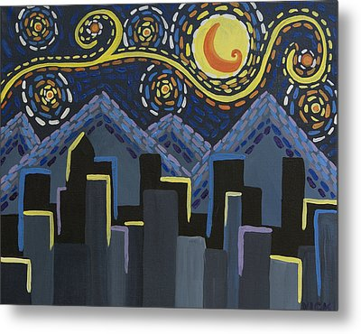 Starry Night Cityscape Metal Print by Angelina Vick