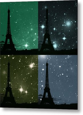 Starry Night - Eiifel Tower Paris Metal Print by Marianna Mills