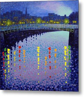 Starry Night In Dublin Half Penny Bridge Metal Print by John  Nolan