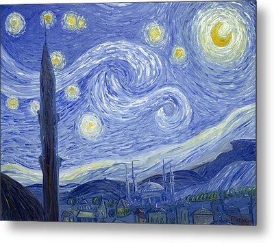 Starry Night In Istanbul Metal Print