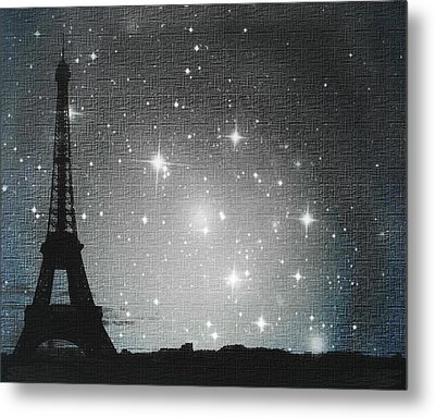 Starry Night In Paris - Eiffel Tower Photography  Metal Print by Marianna Mills