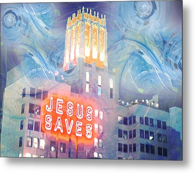 Metal Print featuring the painting Starry Night Indowntown La by John Fish
