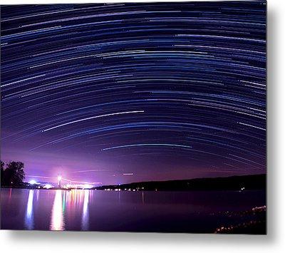 Starry Night On Cayuga Lake Metal Print by Paul Ge