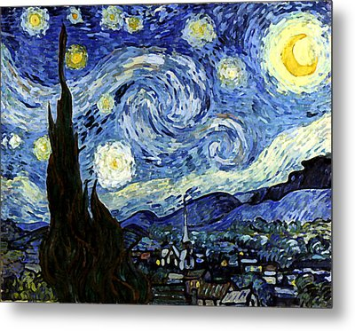 Starry Night Reproduction Art Work Metal Print